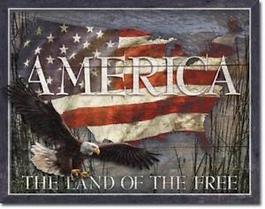 America Carte Aigle Usa Voyages Métal Déco Bouclier AmÉrique Land Of Free-afficher Le Titre D'origine