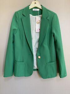 NEW! Calon Diana Womens One Button Green Career Blazer XS Size Long Sleeve