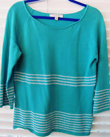 Northern Isles Large-aqua/stripe Fall Sweater-pull Over-3/4 Sleeves-professional