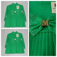 Kleid Strick Kleid Mit Plissee Rock Mädchen ,kinder ,kommunionkleid Grün