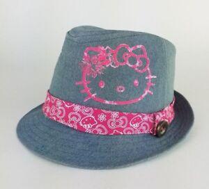 af69e4195 Hello Kitty Sanrio Fedora Hat Girls Gray/Pink Medium/Large cute ...