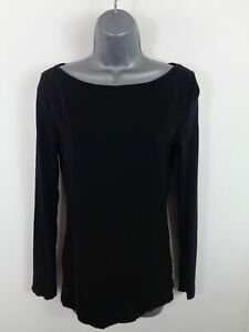WOMENS-OASIS-BLACK-LONG-SLEEVED-CASUAL-ROUND-NECK-T-SHIRT-TOP-BLOUSE-UK-S-SMALL