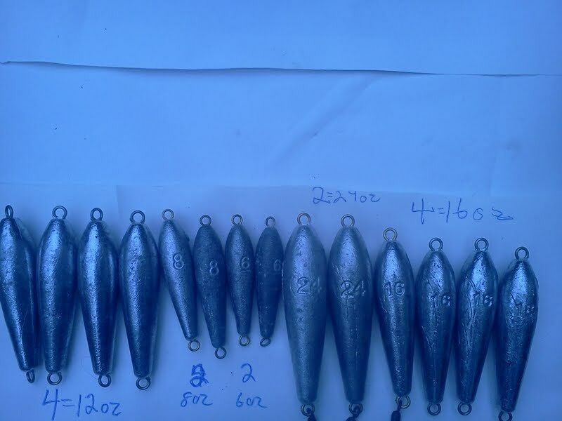 14 In-Line Trolling Sinkers - 2 of Each(8oz, 6oz, 24oz,) 4 each of 12oz & 16oz.