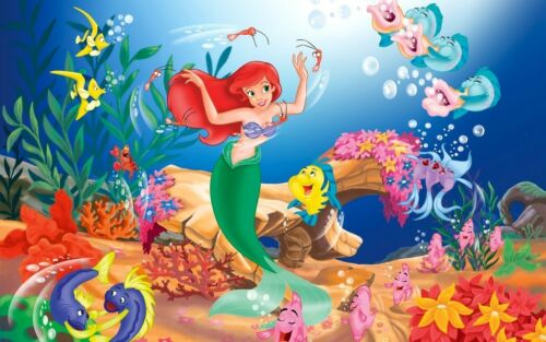 Little Mermaid And Friends Home Decor Canvas Print A4 Size 210 X 297mm