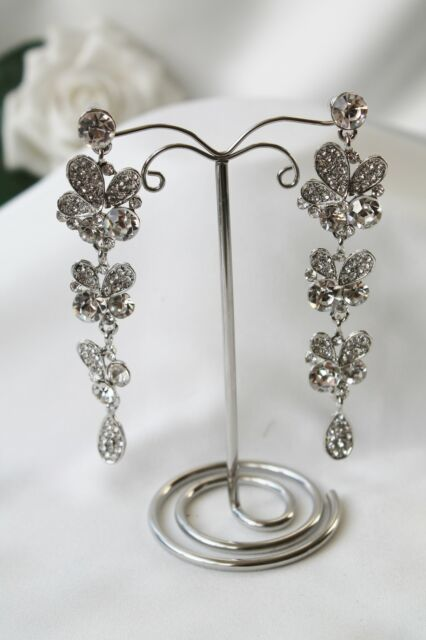 Bridal Bridesmaid Prom - Very Sparkly Clear Diamante Crystal Stud Earrings *NEW*