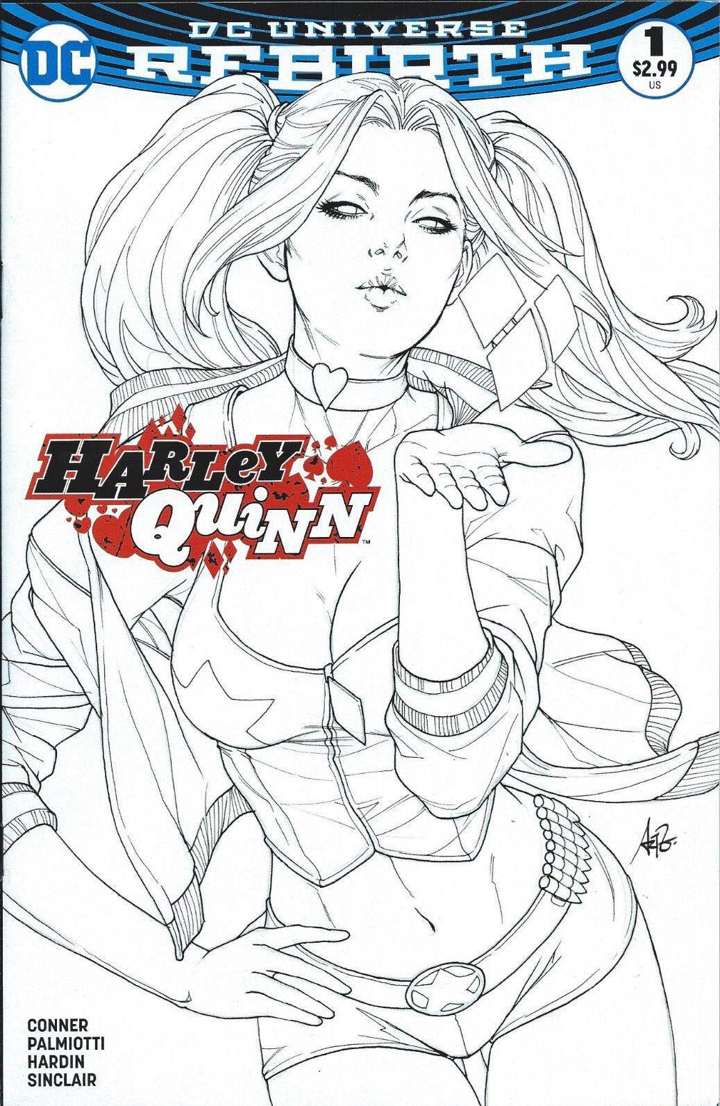 HARLEY QUINN LEGACY EDITION STANLEY ARTGERM LAU LINE ART ART ART COVER DC COMICS 2016 ca3e9f
