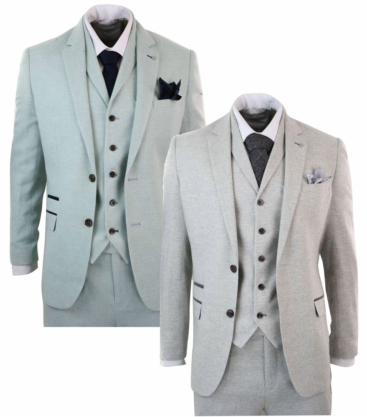 Mens Herringbone Tweed 3 Piece Tailored Fit Suit Light Grey Green Wedding Prom