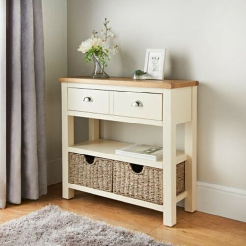 SB19 Two Tone Finish Newsham Oak Console Table with Two Seagrass Storage Baskets