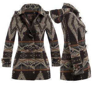 ace9e4b02e56 Womens Brown Wool Hood Aztec Coat Ladies Duffle Winter Jacket Size ...