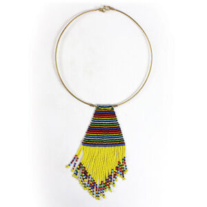 African maasai necklace Beaded pendant necklace Yellow bead necklace.