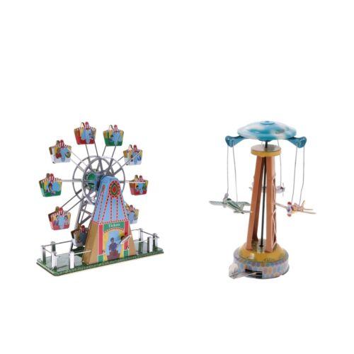 2x Vintage Mechanical Clockwork Wind-up Spinning Tin Toys Home Decoration