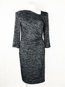 Talbots Women's Knit Black/Grey Dress Long Sleeve Size Large NWOT