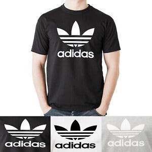 adidas-Men-039-s-Short-Sleeve-Trefoil-Logo-Graphic-Shirt-White-Black-Grey-Heather
