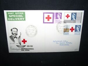 Details about GB first day cover 1963 red cross on illustrated cover with  typed address