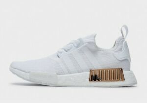 """Adidas Nmd """"White-White-Gold"""" Women's Trainers All Sizes Limited Stock"""