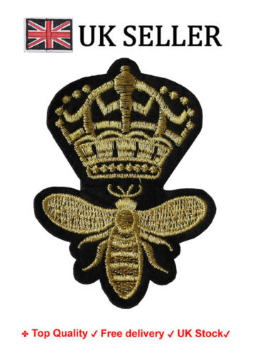 Queen Bee Iron//Sew On Embroidered Patch Badge Embroidery Crown Motif Royal
