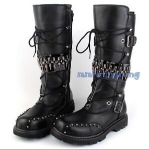 Men-Winter-Shoes-Lace-up-Chukka-Military-Combat-Motorcycle-Knee-High-Knight-Boot