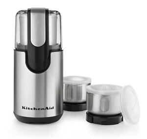 New-KitchenAid-BCG211OB-Onyx-Black-Blade-Coffee-and-Spice-Grinder-With-Bowls