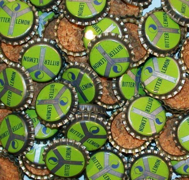 Soda pop bottle caps Lot of 25 BITTER LEMON yin yang cork unused new old stock