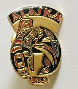 Alaska-Orca-Native-Artwork-Design-Souvenir-Pin-Badge-Rare-Vintage-C1