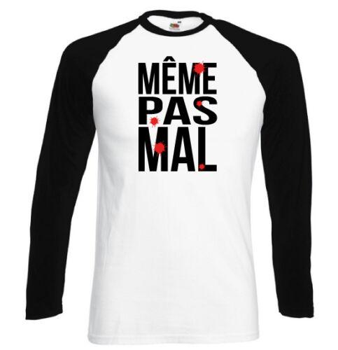 T-shirt contrasté homme blanc//noir manches longues MEME PAS MAL