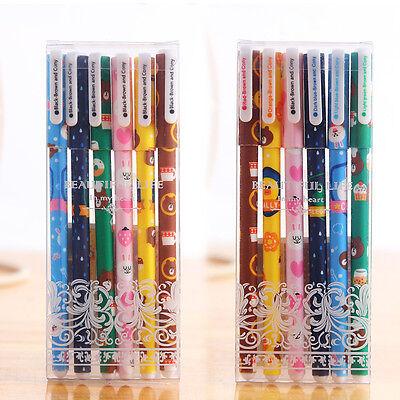6Pcs Gel Pen Creative Cartoon Pen Black Pen colorful/black