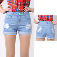 New Womens Girls Sexy Denim Blue Vintage Wash White Jean Denim Pants Shorts-AJS