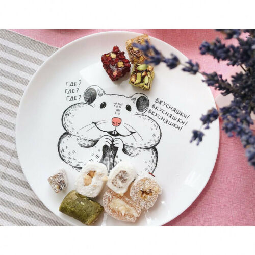 """10/"""" Ceramic Dinner Plate with Cute Funny Hamster Decal by ORNER UKRAINE"""