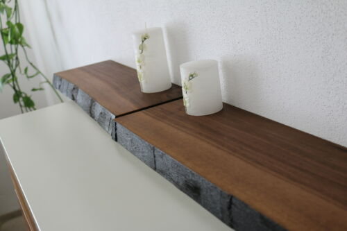 Wandboard 2xNussbaum Massiv Holz Board Regal Steckboard Regalbrett NEU Baumkante
