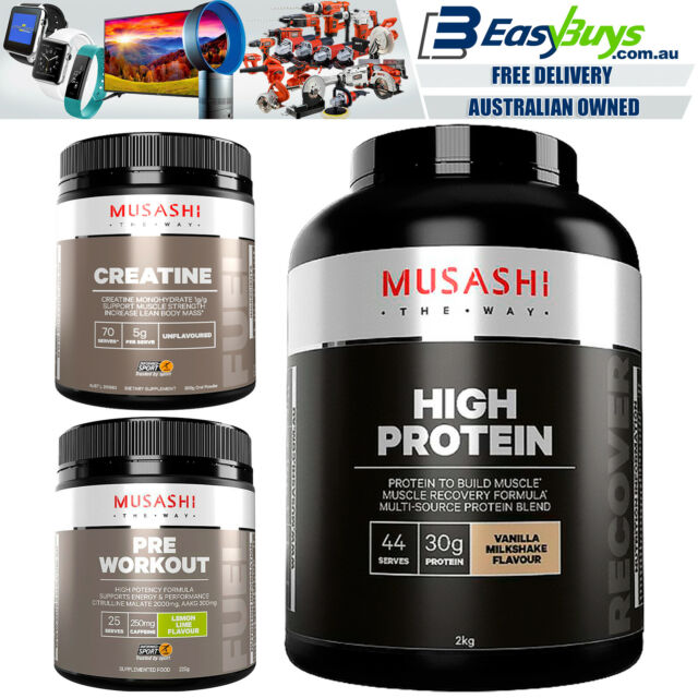 Musashi High Protein Energy Creatine Pack Kit Vanilla WPI Low Fat Whey Shake Set