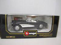 Burago 1957 Chevrolet Corvette 1/18 Scale - 3034 - Die Cast - Black With White