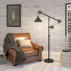 Details About Farmhouse Floor Lamp Rustic Modern Country Mechanical Pulley Style