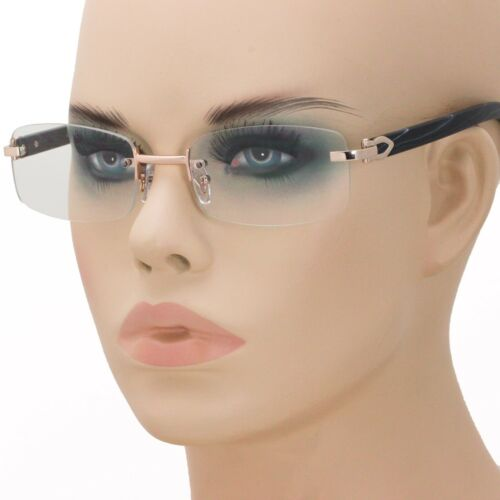 Mens CLASSY Style Clear Lens EYEGLASSES Gold /& Wood Rimless Square Fashion Frame