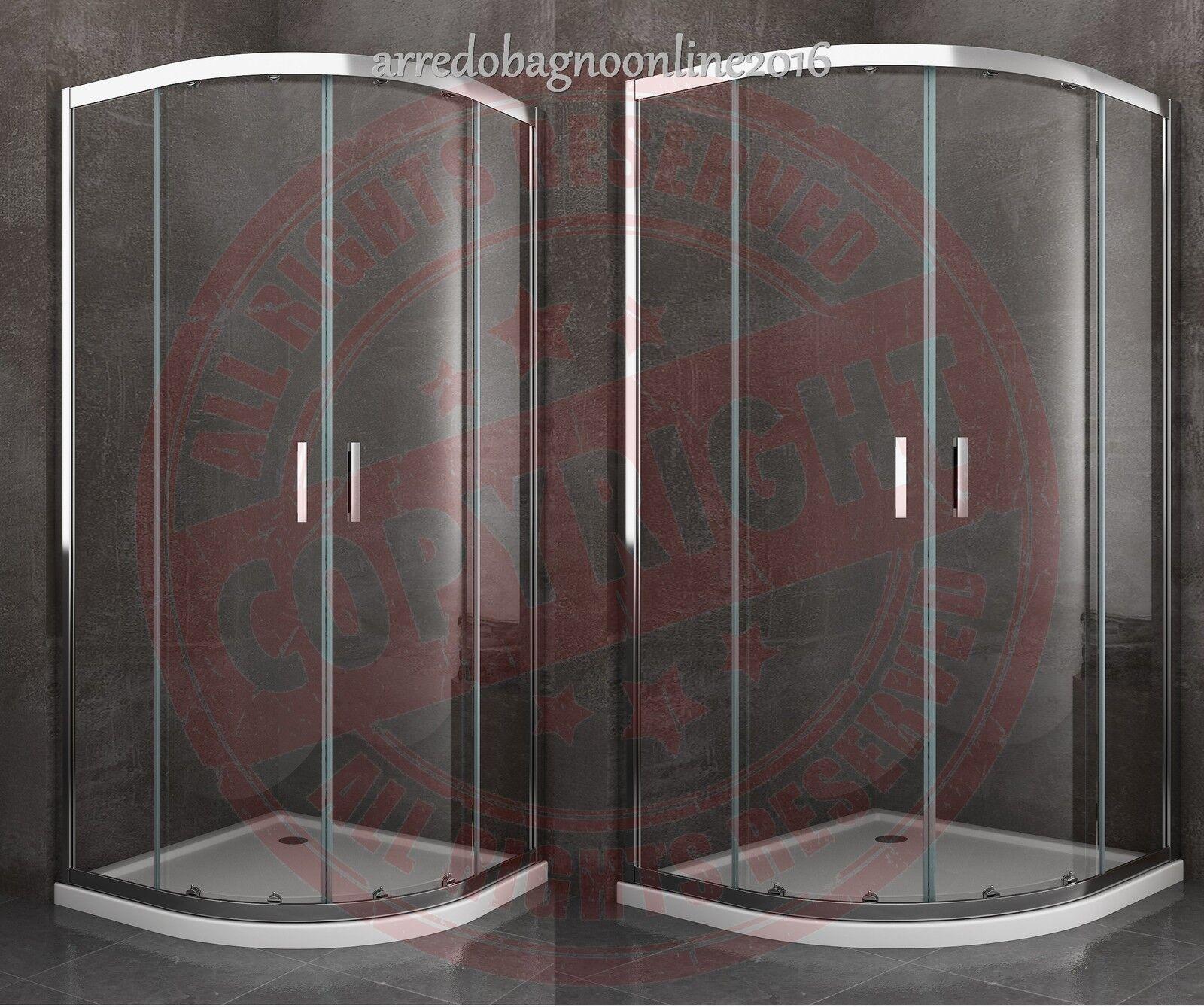 BOX CABINA DOCCIA CURVO CIRCOLARE TONDO EASYCLEAN 80X80 90X90 80X120 BAGNO CROM