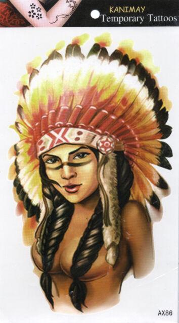 Indianer Frau Temporary Temporäre Klebe Einmal Tattoo Klebetattoo 12 x 20cm AX86