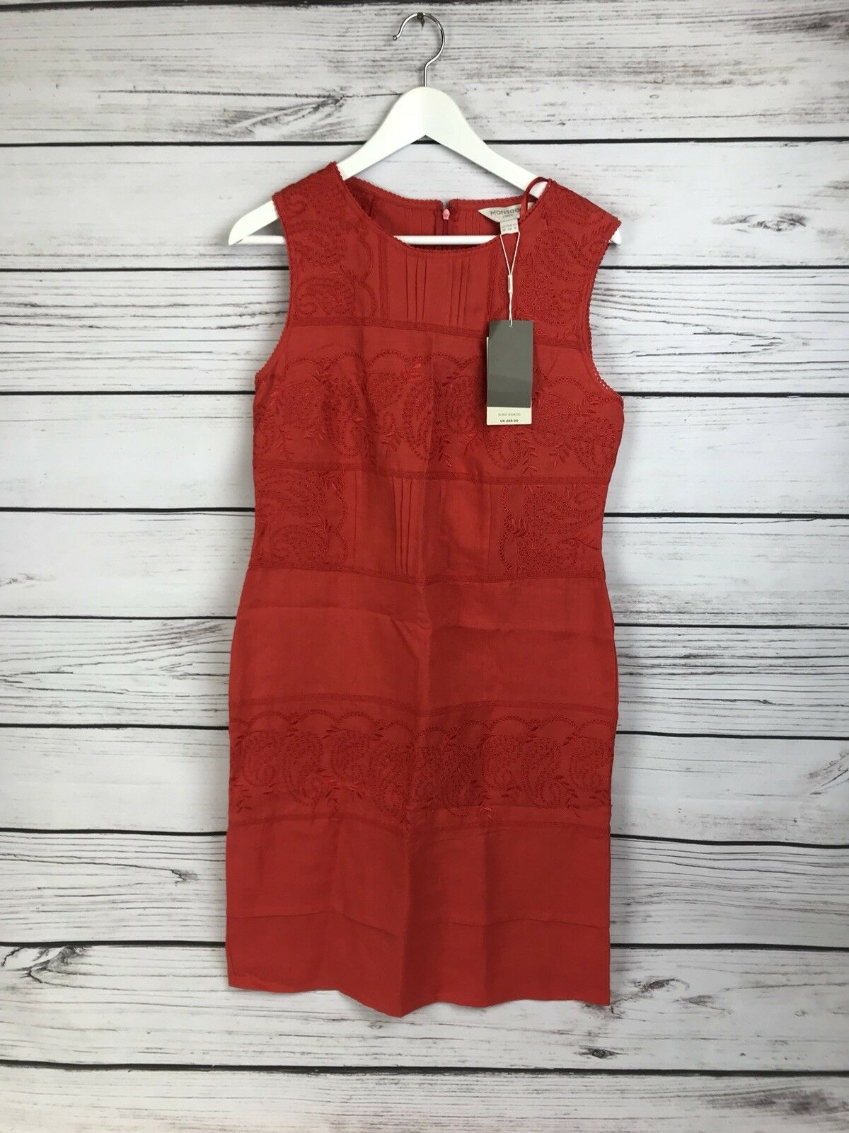 Monsoon Coral linen dress - size 10 (RRP  ) - wedding, holiday - A44