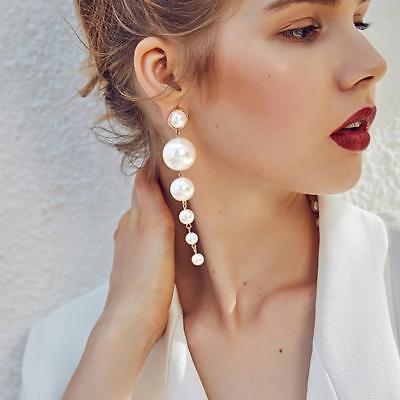 1X Women's Elegant Big Simulated Pearl Long Tassel Earring Ear Stud Jewelry Gift