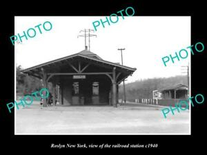 OLD-LARGE-HISTORIC-PHOTO-OF-ROSLYN-NEW-YORK-THE-RAILROAD-DEPOT-STATION-c1940