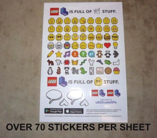 10x Real Lego Emoji Sticker Sheet Party Decorations Balloons Loot Bags Plates
