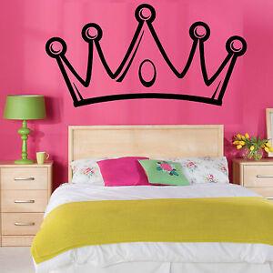 Dettagli su PRINCIPESSE CORONA adesivo in vinile da parete camera da letto  bambina