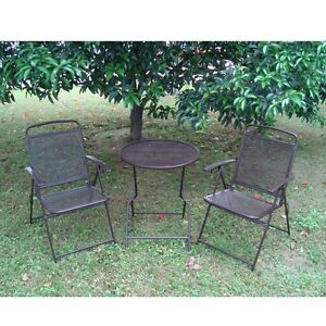 Image Is Loading Bistro Patio Set 3pc Folding Table Chair Outdoor