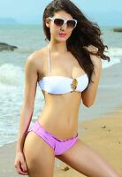 Sexy Women's Jewel Push Up Bandeau Bikini Set Purple Pool Summer Beach