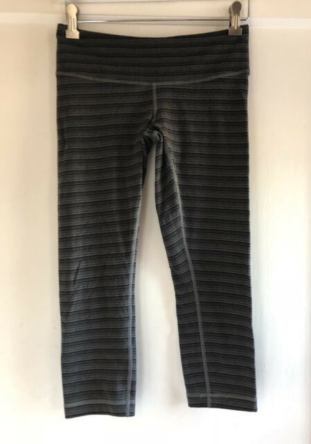 59ec6fff6 Lululemon Wunder Under Crop II Textured Stripe Slate Deep Coal Size ...