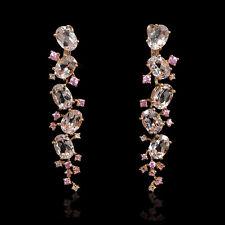 Diamond Morganite and Pink Sapphire18k Rose Gold Dangle Earrings