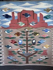 Vintage-Wool-Native-American-Indian-Navajo-Tree-Life-Bird-Rug-Blanket-Tapestry