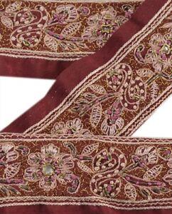 Crafts Linens & Textiles (pre-1930) Sanskriti Vintage Dark Red Sari Border Hand Beaded Indian Craft Trim Ribbon Lace