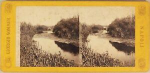 Italia-Fiume-Anapo-Syracuse-c1865-Foto-Sommer-Stereo-Vintage-Albumina