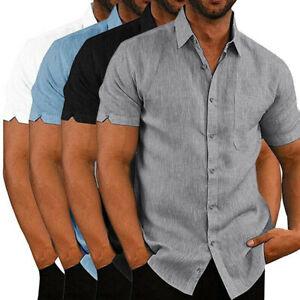 Mens-Linen-Short-Sleeve-Summer-Solid-Shirts-Loose-Dress-Soft-Tops-Tee-New-EJ