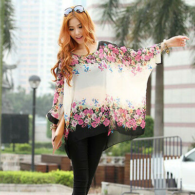 Fashion Women Floral Print Batwing Sleeve Casual Loose Shirt Blouse Tops XL