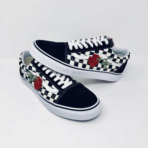 Image is loading Checkerboard-Old-Skool-Red-Rose-Embroidery-Vans-Custom- 882d27070
